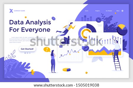 Landing page template with group of men and women analyzing diagrams, graphs, charts. Big data analytics, statistical analysis of business information. Modern flat vector illustration for web banner.