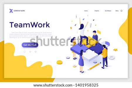 Landing page template with group of office workers holding jigsaw puzzle pieces and woman celebrating professional success. Successful teamwork. Modern isometric vector illustration for website.