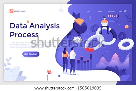 Landing page template with group of people analyzing statistical information and giant levitating charts. Data analysis process, statistics, business analytics. Modern vector illustration for website.