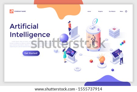 Landing page template with group of scientists standing at control panels and analyzing robot put inside glass pod. Concept of artificial intelligence, machine learning. Isometric vector illustration.