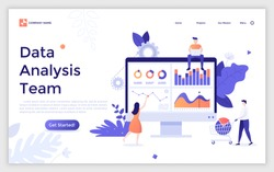 Landing page template with group of statistical analysts working together under project and computer screen with diagrams and graphs. Data analysis team, business analytics. Flat vector illustration.