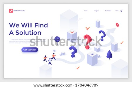 Landing page template with interrogation points and people running along arrow route towards location mark. Concept of finding solution to problem or answer to question. Isometric vector illustration.