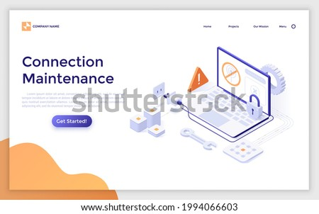 Landing page template with laptop computer with internet access denied sign on screen, plug and socket. Concept of network connection maintenance services. Modern isometric vector illustration.