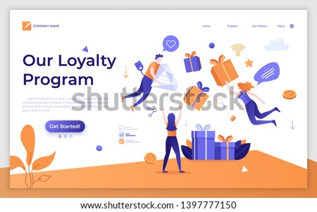 Landing page template with levitating internet retail customers and gift boxes. Promotion of online store or shop loyalty program, bonus or reward. Modern flat vector illustration for advertisement.