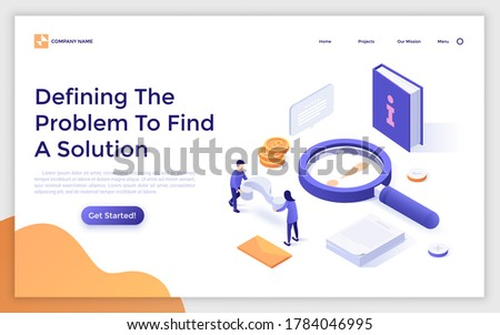 Landing page template with magnifier, book, people carrying interrogation point. Concept of defining problem to find solution or answer to question. Modern isometric vector illustration for website. Foto stock ©