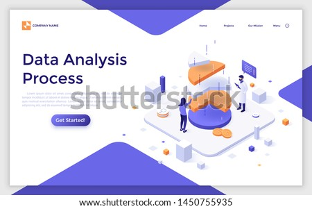Landing page template with man and woman analysts analyzing pie chart. Statistical data analysis, financial analytics, market research. Modern isometric vector illustration for website, webpage.