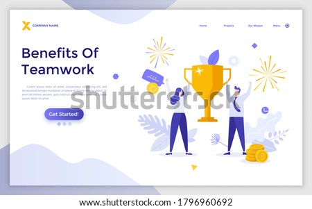Landing page template with man and woman holding golden winner's cup or prize together. Concept of benefits of teamwork, business triumph, work success. Modern flat vector illustration for website.