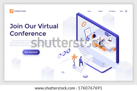 Landing page template with man ascending stairs leading to computer screen with whiteboard meeting inside. Concept of virtual conference, business negotiation. Modern isometric vector illustration.