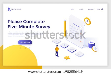 Landing page template with man filling in form or answering questions. Concept of completing online survey, customer review, consumer's opinion. Modern isometric vector illustration for webpage.
