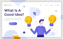Landing page template with man holding glowing lightbulbs with question mark and exclamation point on it. Concept of creativity, creative idea generation, problem solving. Flat vector illustration.