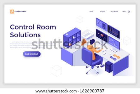 Landing page template with man looking at displays. Concept of control room solutions, equipment for monitoring or surveillance, internet security service. Modern isometric vector illustration.