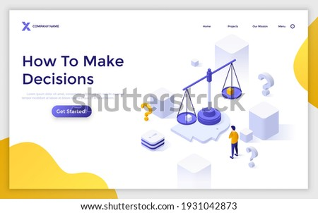 Landing page template with man looking at weighing scale on human head. Concept of decision making, choice between two options, problem solving. Modern isometric vector illustration for website. Сток-фото ©