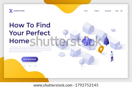 Landing page template with man standing at city district with houses. Concept of finding perfect home, search for real estate, property for sale. Isometric vector illustration for internet service.