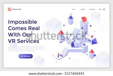 Landing page template with man standing in front of castle with stairs and goblet on tower. Concept of virtual or augmented reality service, game simulation. Isometric vector illustration for website.