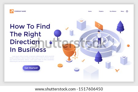 Landing page template with man standing in maze or labyrinth and trying to find exit. Concept of search of right direction in business or problem solving. Isometric vector illustration for website.