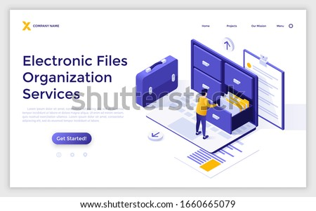 Landing page template with man standing on laptop computer and opening drawer of storage cabinet full of documents. Concept of electronic file organization service. Isometric vector illustration. Foto d'archivio ©