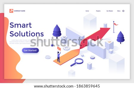 Landing page template with man standing on twisted arrow leading to flag through barriers. Concept of smart solutions for business, difficulties overcoming. Isometric vector illustration for website.