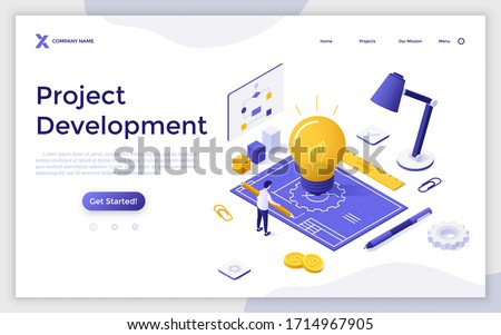 Landing page template with man with pencil drawing blueprint, glowing lightbulb, diagrams, charts. Concept of innovative startup project development. Modern isometric vector illustration for website.