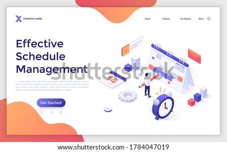 Landing page template with man with pencil standing at planner and alarm clock. Concept of effective schedule management, appointment planning, work productivity system. Isometric vector illustration.