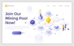 Landing page template with man working on laptop computer and network of cubic blocks. Cryptocurrency mining pool service or technology advertisement. Modern isometric vector illustration for webpage.