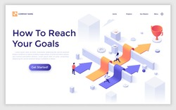 Landing page template with men and women running along arrows laid over barriers towards champion cup. Concept of people reaching business goal and achieving success. Isometric vector illustration.