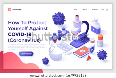 Landing page template with microscope, test tubes, medical mask, hand sanitizer, viruses. Concept of protective measures against Coronavirus infection. Isometric vector illustration for webpage.