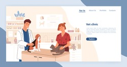 Landing page template with pair of smiling veterinarians holding cat and dog. Flat cartoon vector illustration for veterinary clinic advertisement, promo of domestic animals healthcare service.