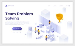Landing page template with people carrying blocks to overcome barrier and get to prize. Concept of team problem solving, dealing with obstacles to achieving success. Isometric vector illustration.