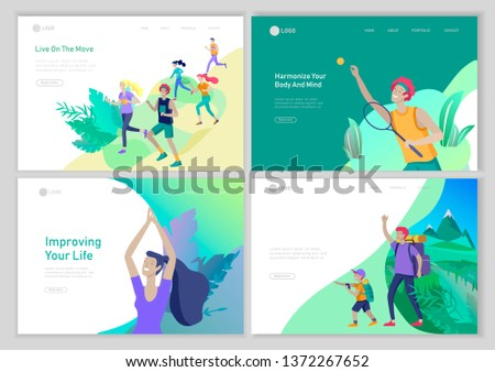 Landing page template with People group running, man playing tennis, girl doing yoga. Father with son are hiking. Family performing sports outdoor activities at park or Nature. Cartoon illustration