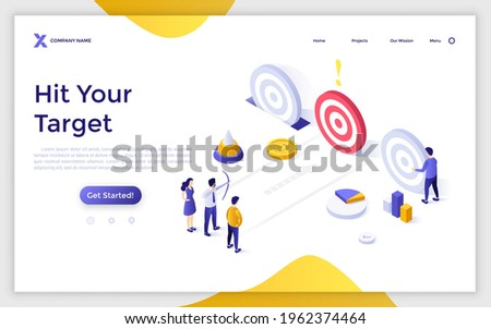Landing page template with people or entrepreneurs shooting circular targets with bow and arrows. Concept of goal achievement, business competition. Modern isometric vector illustration for webpage. Photo stock ©