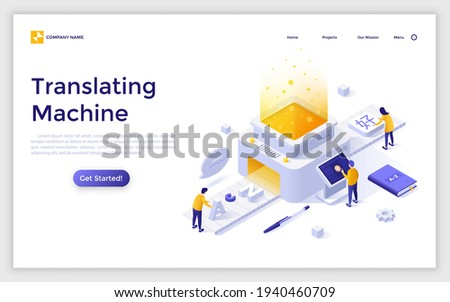 Landing page template with people putting English letters on conveyor belt and getting Chinese hieroglyphs. Concept of translating machine, online translation. Modern isometric vector illustration.