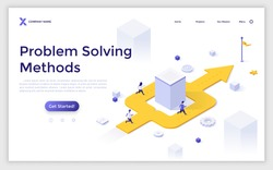 Landing page template with people running along arrow turning around obstacle and leading to finish. Concept of business problem solving method, hurdle overcoming. Isometric vector illustration.