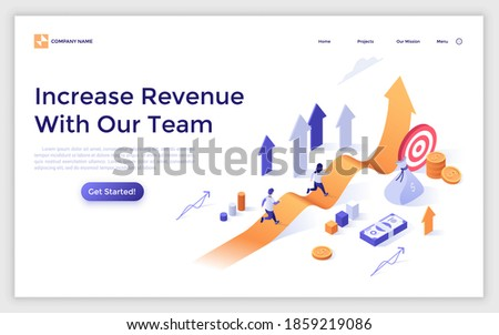 Landing page template with people running along ascending arrow chart and money. Concept of increase in revenue, profit growth, business development. Modern isometric vector illustration for website. Photo stock ©