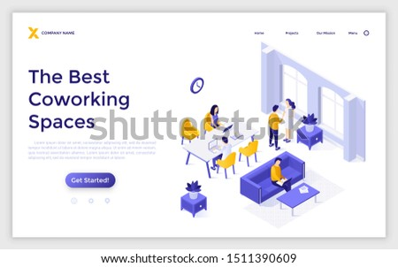 Landing page template with people sitting at desks and working on laptop computers in shared office. Coworking space or area for freelance workers. Modern isometric vector illustration for website.