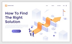 Landing page template with people standing at arrow laid over barriers and leading to finish. Concept of search for right solution, business problem solving. Modern isometric vector illustration.
