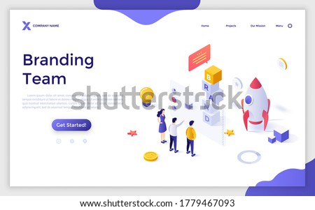 Landing page template with people standing at screen and spacecraft. Concept of branding team, brand managers working on business project launch. Modern isometric vector illustration for website.