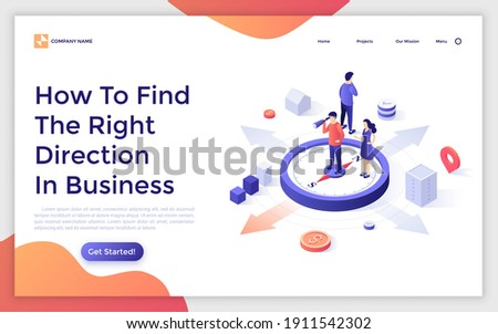 Landing page template with people standing on compass and looking through spotting scope. Concept of search for right direction of business development. Isometric vector illustration for website.