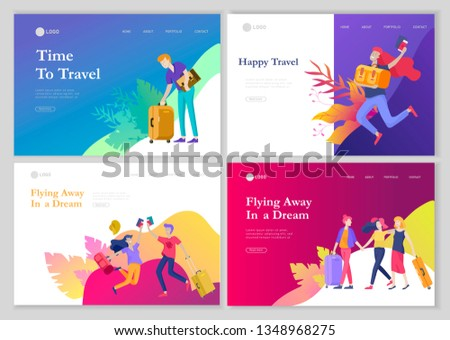 landing page template with people travel on vacation. Tourists with laggage travelling with family, friends and alone, go on journey. Time to happy travel. Vector illustration cartoon style