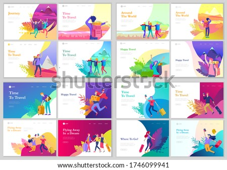 landing page template with people travel on vacation. Tourists with laggage travelling with family, friends and alone, go on journey. Time to happy travel. Vector illustration cartoon style ストックフォト ©