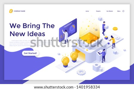 Landing page template with people working on belt conveyor and light bulbs. Creation of new ideas, creative thinking process. Modern isometric vector illustration for advertisement, service promo.