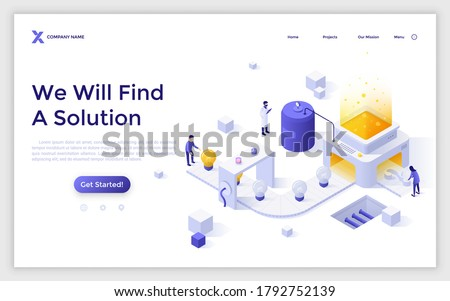 Landing page template with people working on conveyor belt with lightbulbs and question mark on it. Concept of innovative idea generation, problem solving. Modern flat vector illustration for website. Photo stock ©