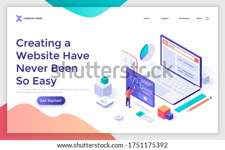 Landing page template with programmer or coder creating webpage on giant laptop computer. Concept of internet tool for web development, online website builder. Modern isometric vector illustration.