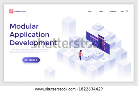Landing page template with programmer or coder working on computer and organizing modules and blocks. Concept of modular programming or application development. Modern isometric vector illustration.