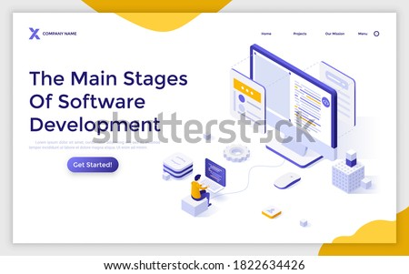 Landing page template with programmer or coder working on computer. Concept of main stages of software development, front-end and back-end coding. Modern isometric vector illustration for website.