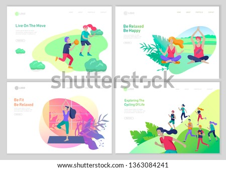 Landing page template with running group People, man and woman doing yoga workout,children play ball. Healty life concept. People sports outdoor activities at park. Cartoon illustration
