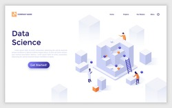 Landing page template with scientists or researchers and giant cubes. Concept of data science, cluster analysis, statistical information research. Modern isometric vector illustration for webpage.