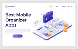 Landing page template with smartphone, documents, money, calculator, briefcase. Concept of mobile organizer app, application for file organization, task management. Isometric vector illustration.