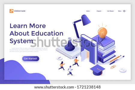 Landing page template with students running towards book entrance. Concept of education system, university admission, studying at college, academic learning. Modern isometric vector illustration.