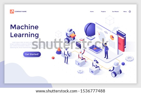 Landing page template with teacher giving lecture to robots. Concept of artificial intelligence, machine learning and computer science. Modern isometric vector illustration for website, webpage.