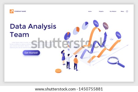 Landing page template with team of analysts comparing graphs. Business data analysis team, financial forecast, statistical market research. Modern isometric vector illustration for website, banner.